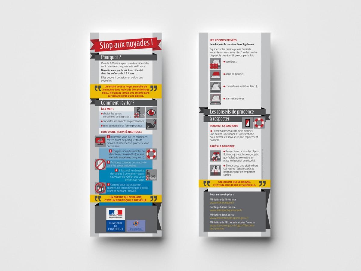 """DGSCGC (Direction Générale de la Sécurité Civile et de la Gestion des Crises) - Marque pages """"Risques quotidien - Noyades"""" - Mise en page et illustrations"""
