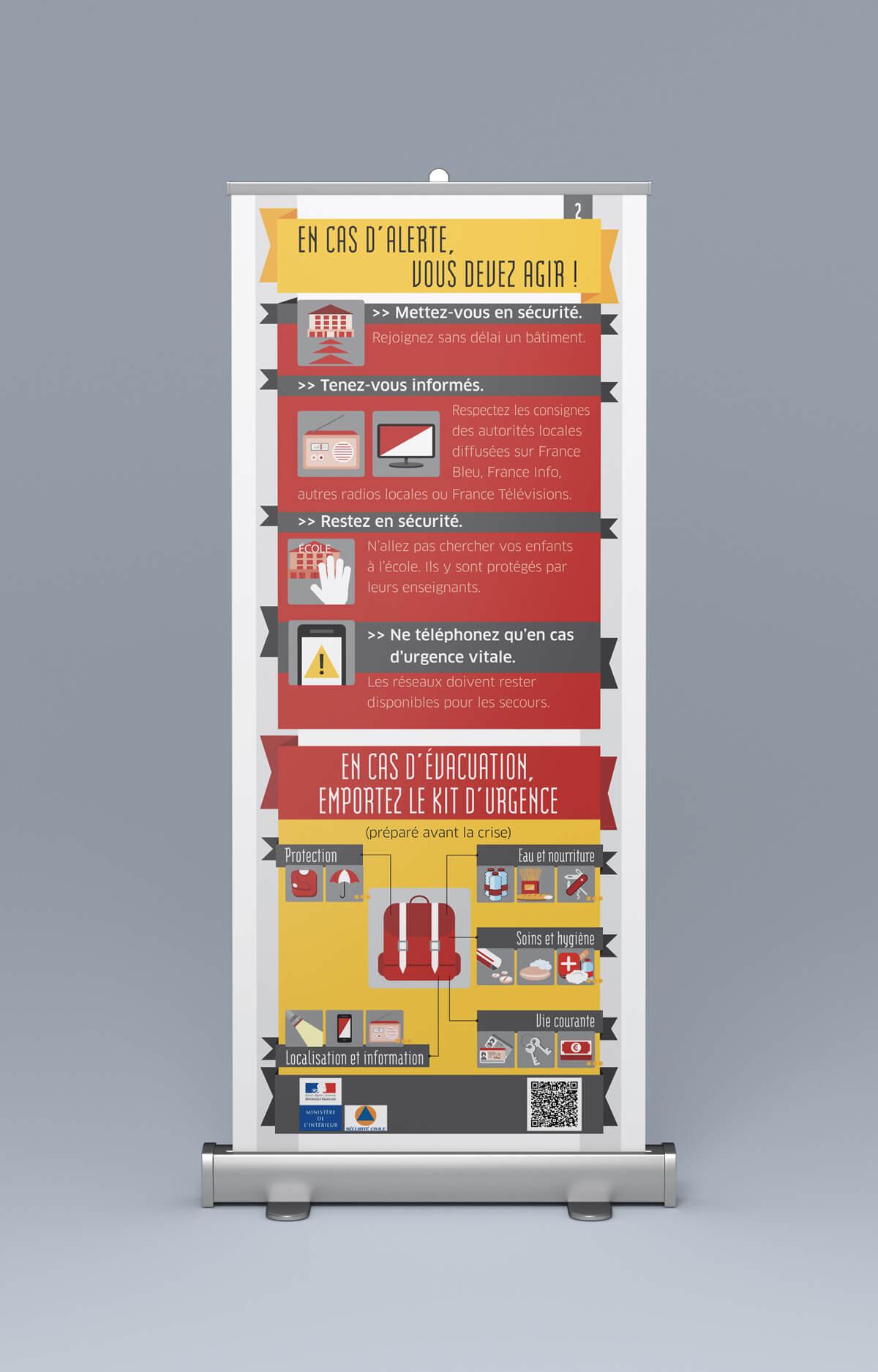 """DGSCGC (Direction Générale de la Sécurité Civile et de la Gestion des Crises) - Roll up """"Agir en cas d'alerte"""" - Mise en page et illustrations"""