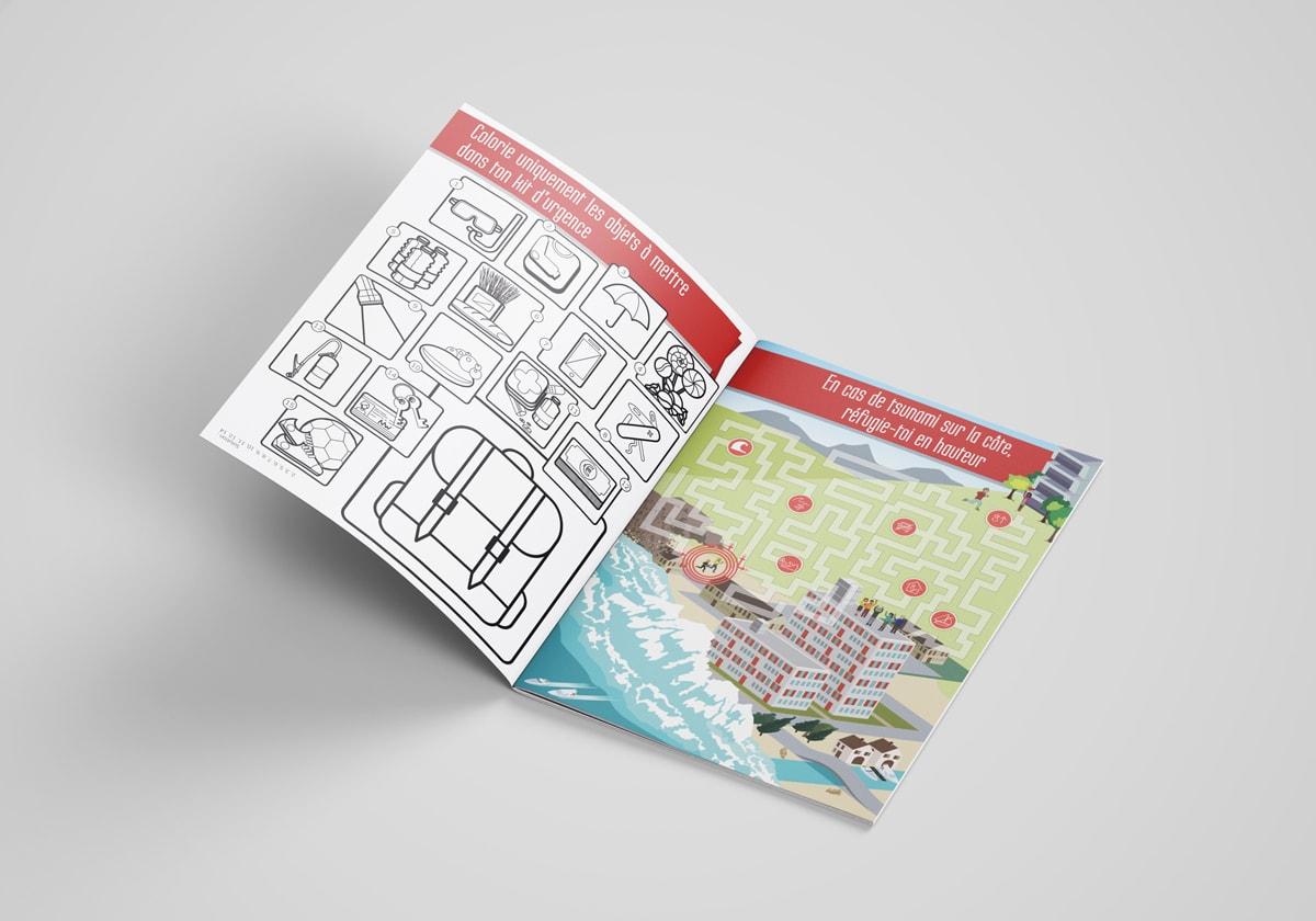 """DGSCGC (Direction Générale de la Sécurité Civile et de la Gestion des Crises) - Cahier de jeux"""" - Mise en page, jeux et illustrations"""