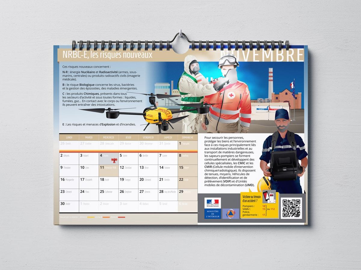 DGSCGC (Direction Générale de la Sécurité Civile et de la Gestion des Crises) - Calendrier 2020 - Mise en page et illustrations
