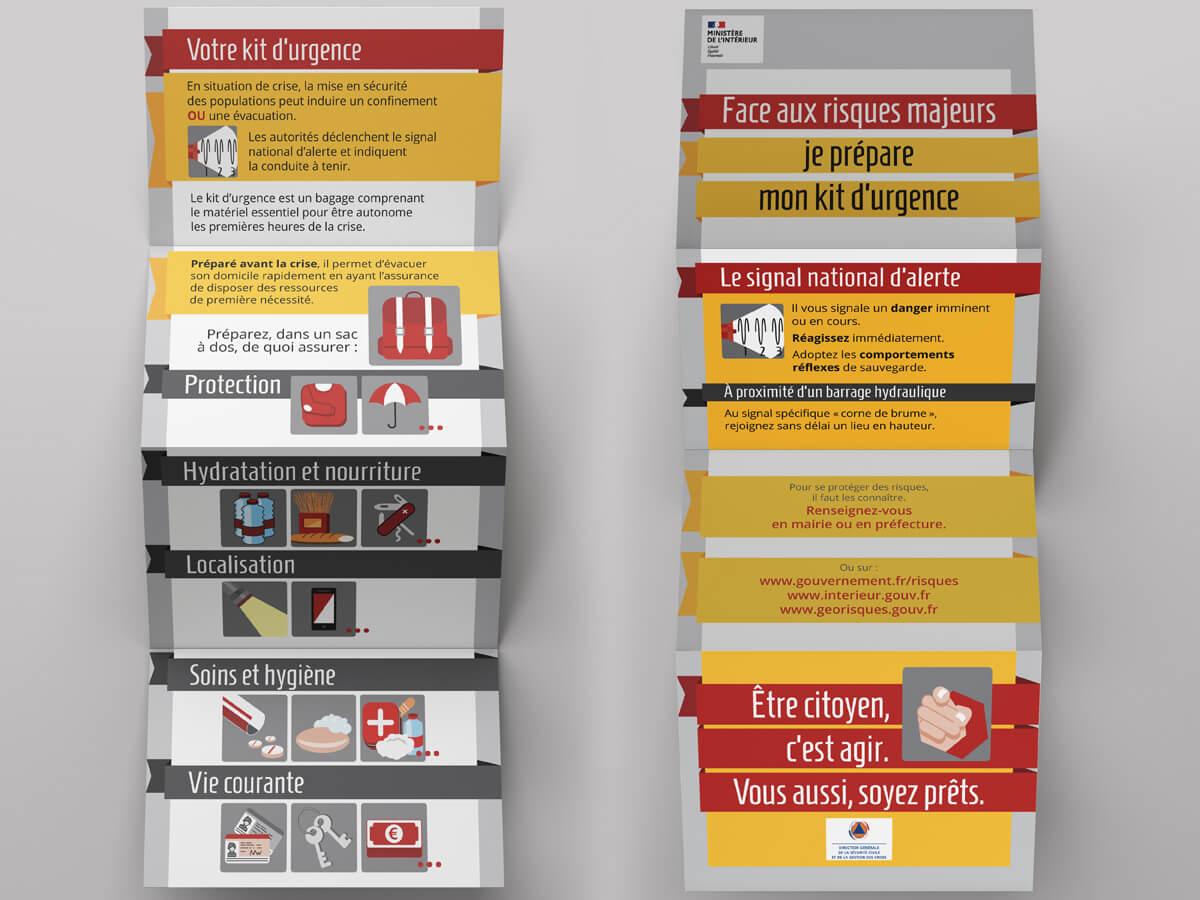 """DGSCGC (Direction Générale de la Sécurité Civile et de la Gestion des Crises) - Dépliant """"Kit d'urgence"""" - Mise en page et illustrations"""