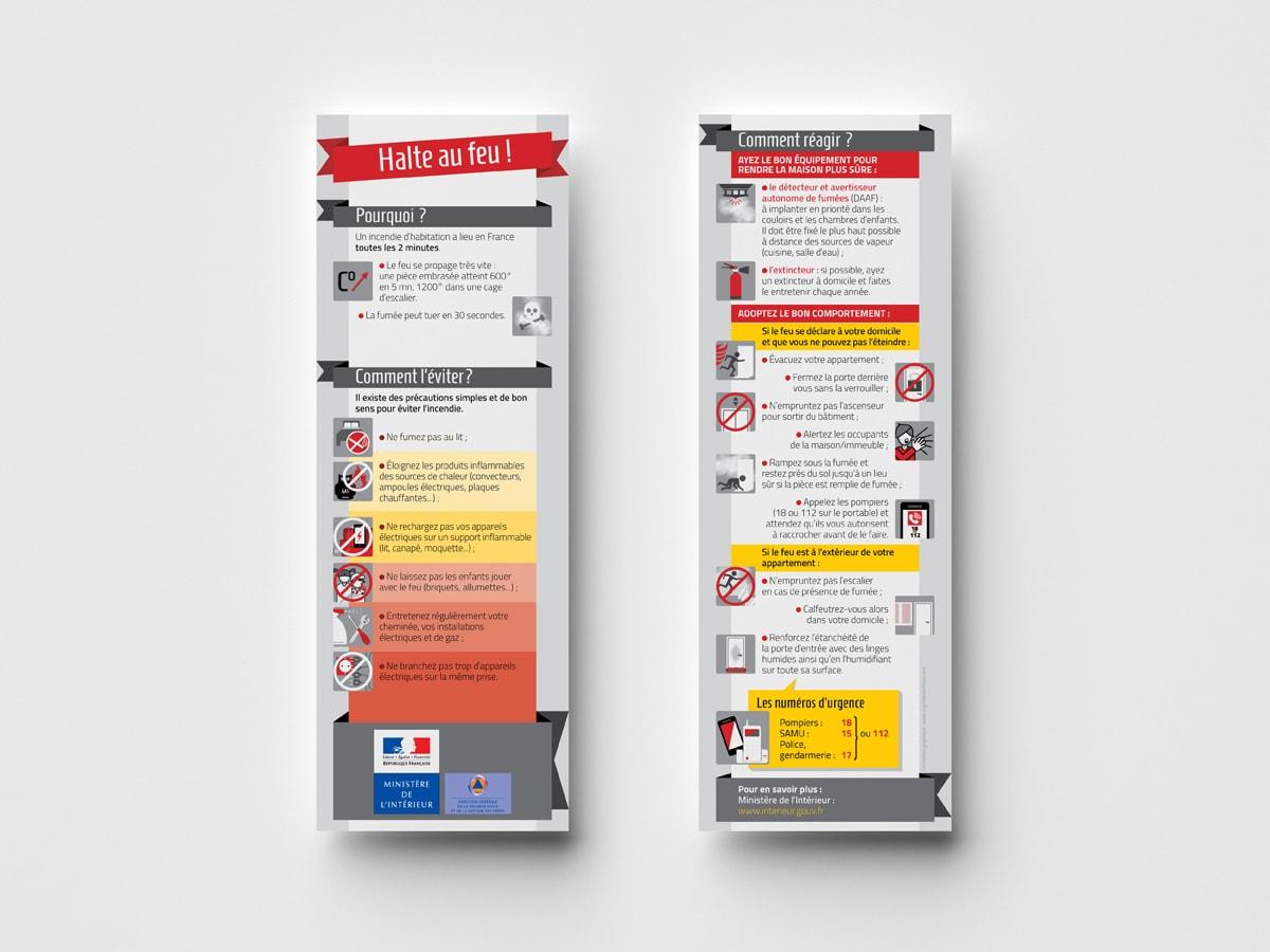 """DGSCGC (Direction Générale de la Sécurité Civile et de la Gestion des Crises) - Marque pages """"Risques quotidien - Incendie"""" - Mise en page et illustrations"""