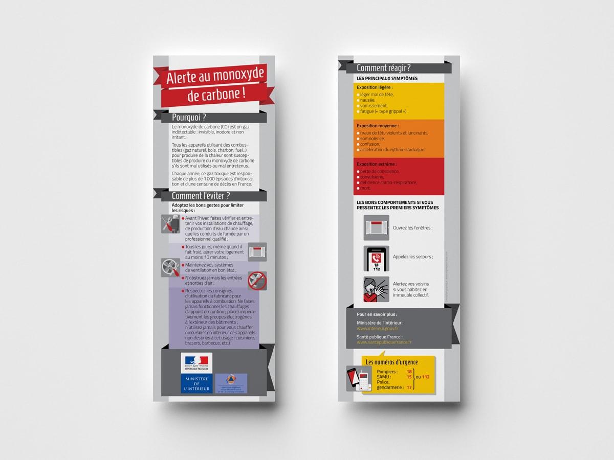 """DGSCGC (Direction Générale de la Sécurité Civile et de la Gestion des Crises) - Marque pages """"Risques quotidien - Monoxyde de carbone"""" - Mise en page et illustrations"""