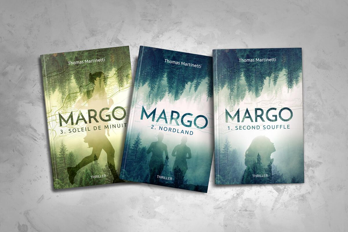 """Couvertures de """"Margo"""" (Tome 1, 2 et 3) de Thomas Martinetti"""