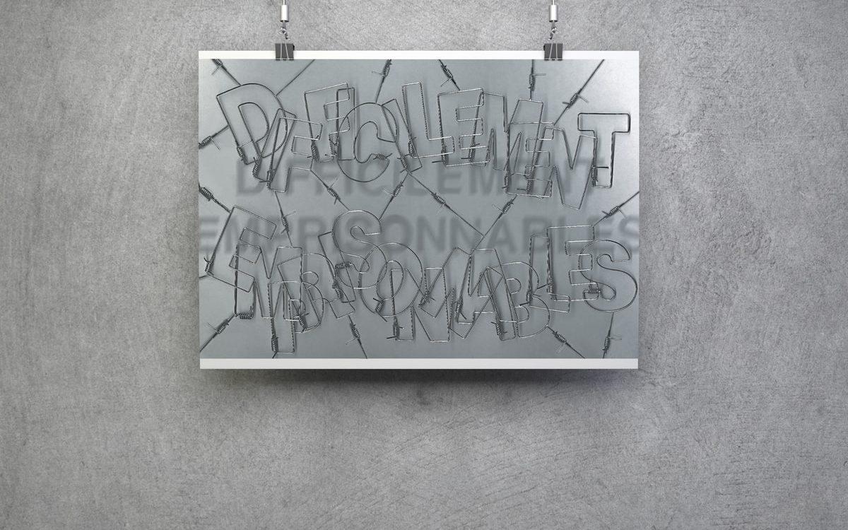 Affiche Difficilement emprisonnable - Travail personnel, typo faite à la main