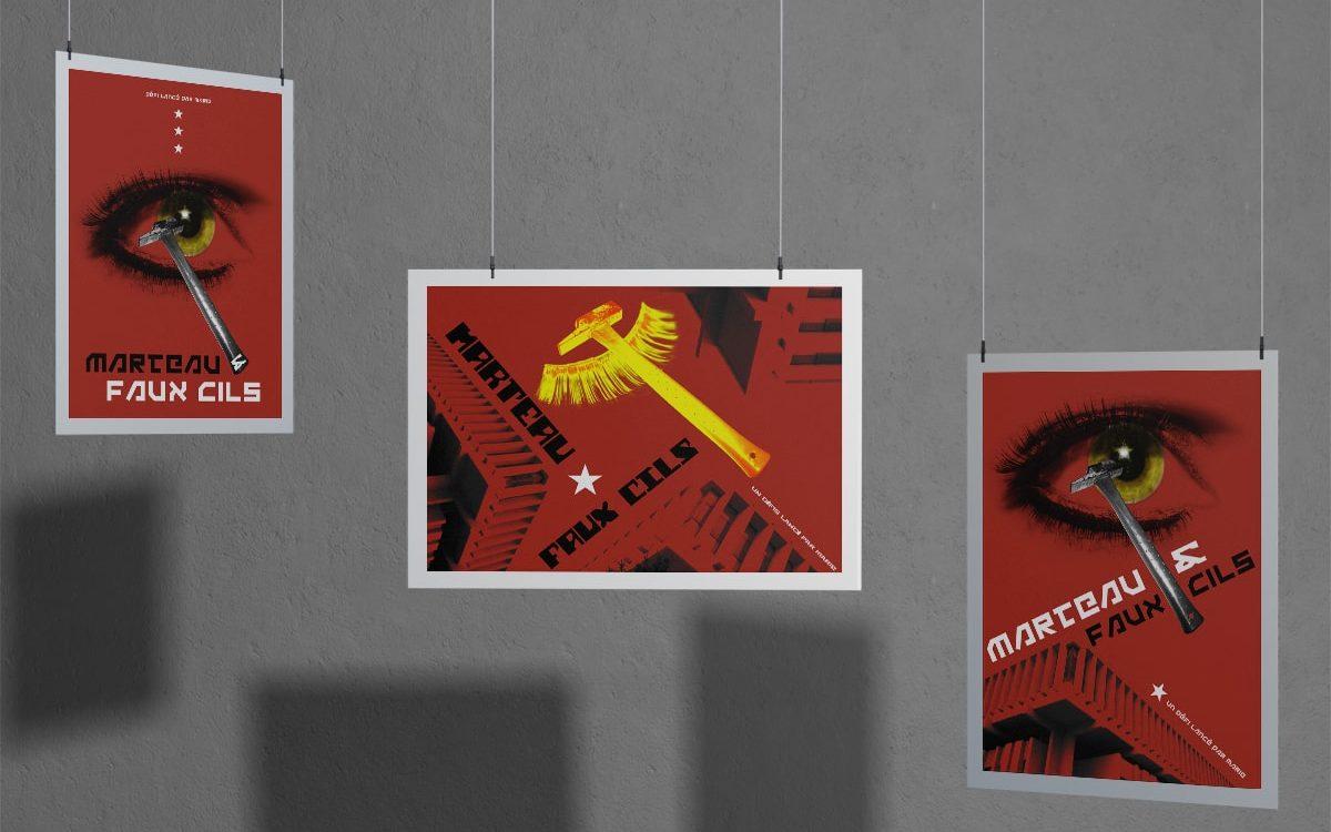 Affiche Marteau & faux cils - Travail personnel